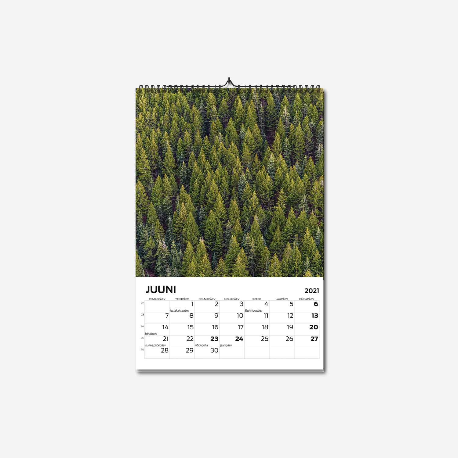 A4 spiraalköites suure pildiga seinakalendri trükk - oma disainiga kalender