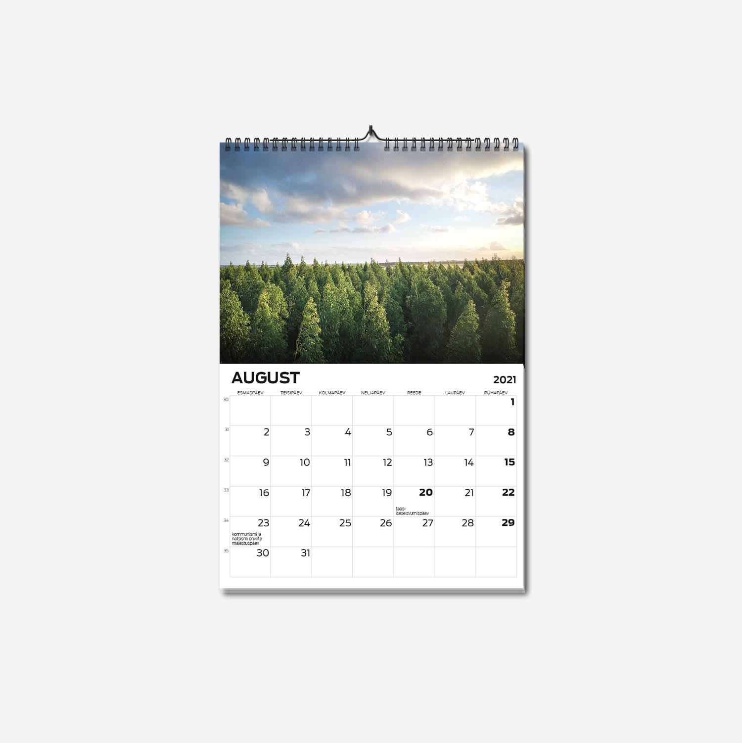 A4 spiraalköites seinakalendri trükk - oma disainiga kalender