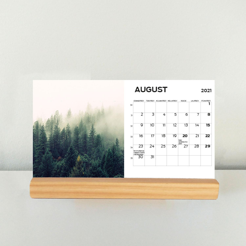 Lauakalender puidust klotsiga 180 x 100 mm - oma disainiga kalender