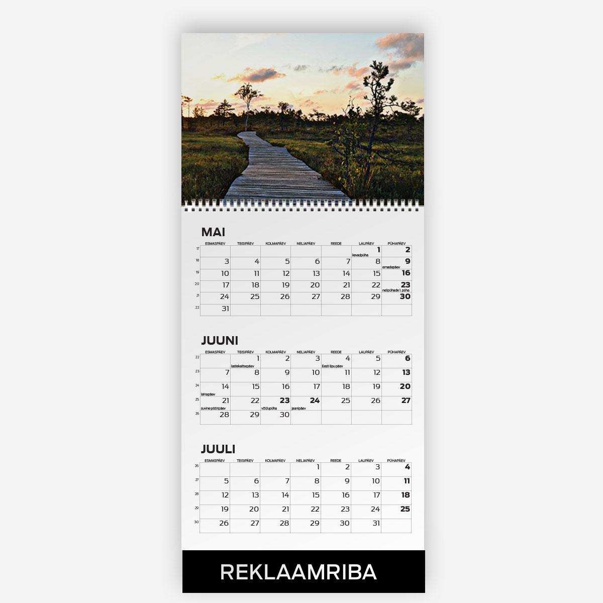 Triokalender A3 + A4 päisega ja reklaamribaga - oma disainiga kalender